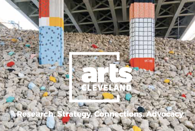 Public art in underpass with Arts Cleveland logo overlay